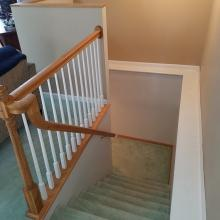 Open stairway to finished lower level